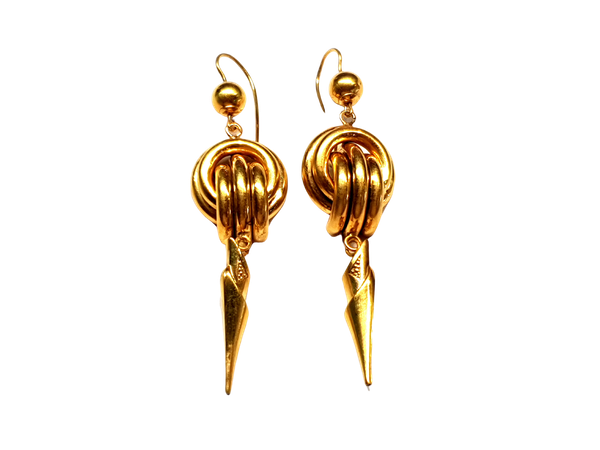 Long gold knot earrings  DBGEMS - image 1
