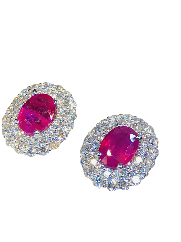 18K white gold 2.73ct Natural Ruby and 2.28ct Diamond Earrings - image 1