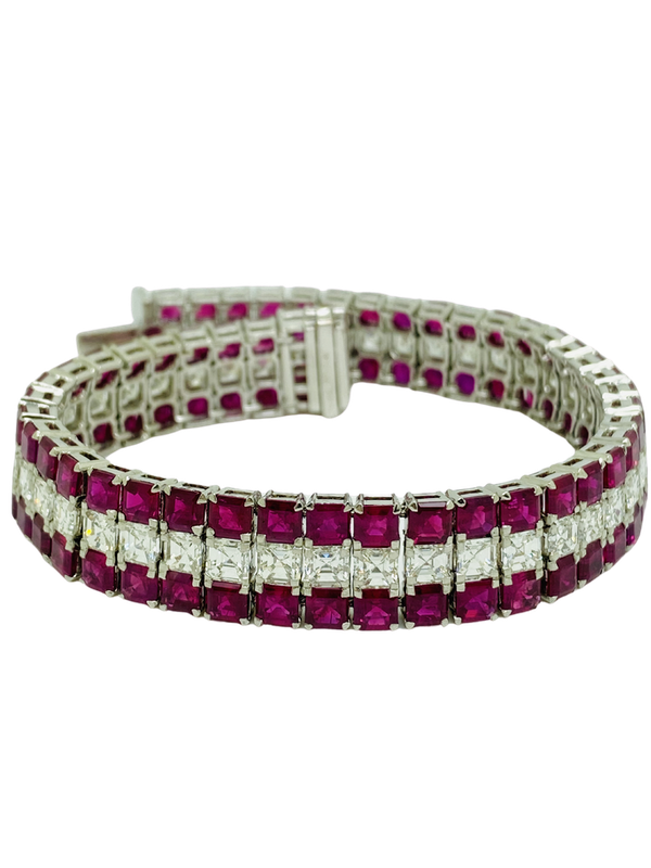 18K White Gold 29.56ct Natural Ruby and 11.82ct Diamond bracelet - image 3