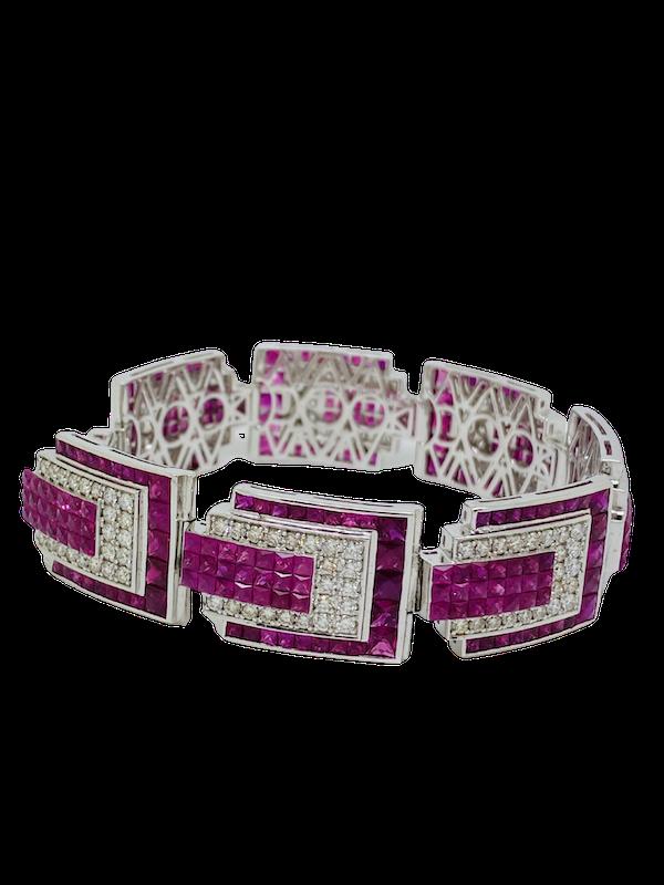 18K white gold 23.17ct Natural Ruby and 5.20 Diamond Bracelet - image 1