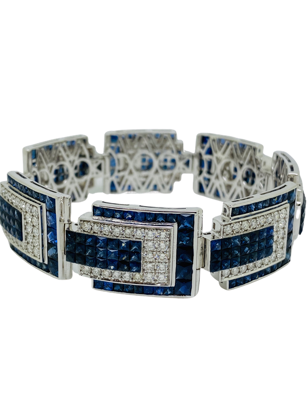 18K white gold 23.05ct Natural Blue Sapphire and 6.24ct Diamond Bracelet - image 1