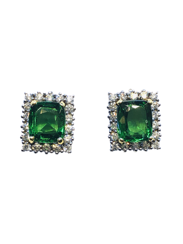 18K white gold 5.04ct Natural Tsavorite and 1.25ct Diamond Earrings - image 1