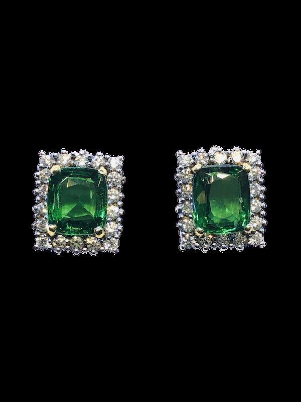 18K white gold 5.04ct Natural Tsavorite and 1.25ct Diamond Earrings - image 1