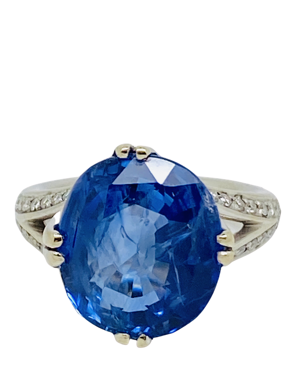 18K white gold, 12.19ct Natural Blue Sapphire Ring - image 1