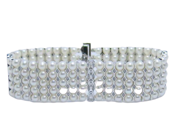 18K white gold Pearls and Diamond Bracelet - image 1