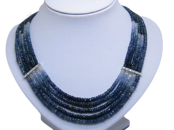 18K white gold 275.00ct Natural Blue Sapphire and 1.25ct Diamond Necklace - image 1