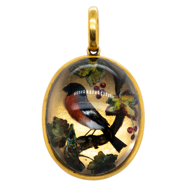 Antique Essex crystal finch pendant locket  DBGEMS - image 4