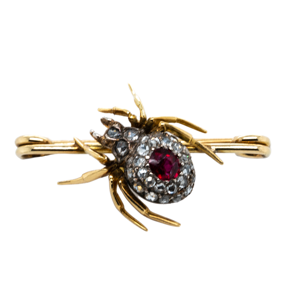 Ruby and Diamond Spider Brooch  DBGEMS - image 1