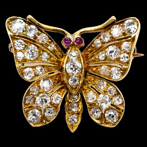 Antique Diamond Butterfly Brooch  DBGEMS - image 1