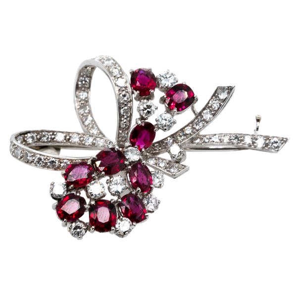 Ruby and Diamond Brooch By Collingwood of London  DBGEMS - image 1