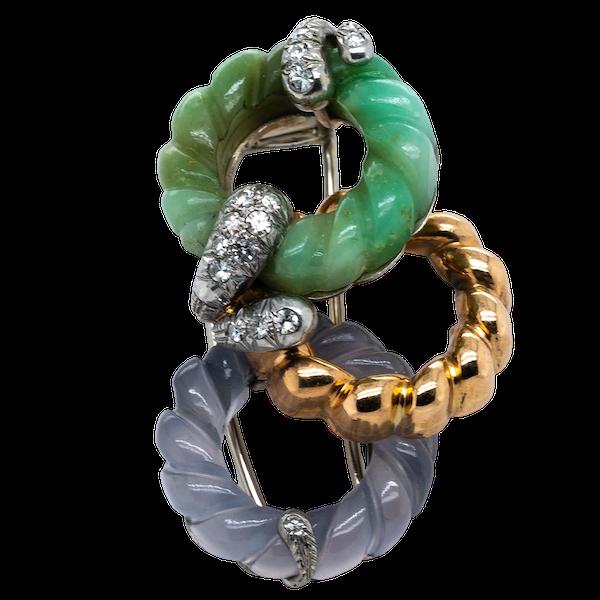 Stylish jade diamond and chalcedony clip  DBGEMS - image 1