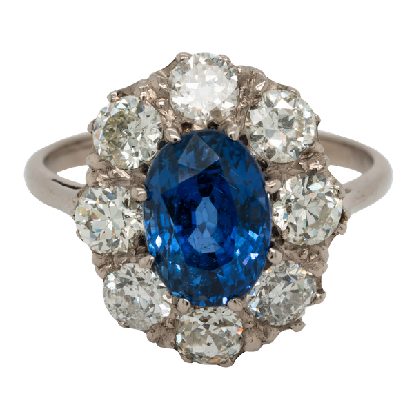 Sapphire and diamond cluster engagement ring  DBGEMS - image 1