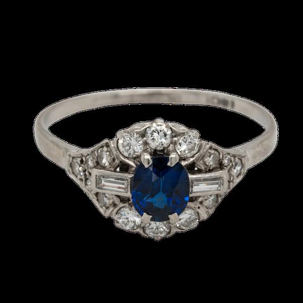 Art deco sapphire and diamond engagement ring  DBGEMS - image 1
