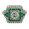 Art deco emerald and diamond engagement ring  DBGEMS - image 1