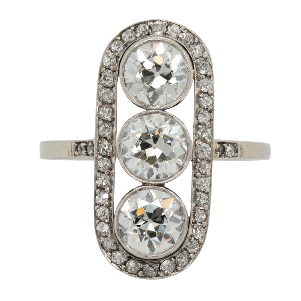 Art deco three stone diamond ring  DBGEMS - image 1