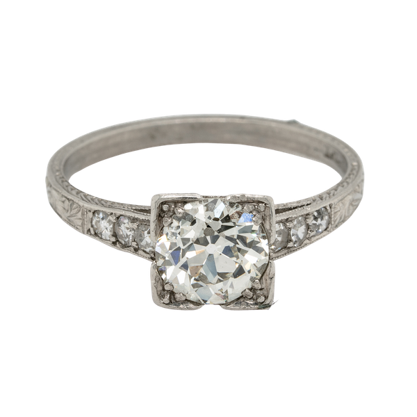 Art Deco Geometric Diamond Engagement Ring  DBGEMS - image 1