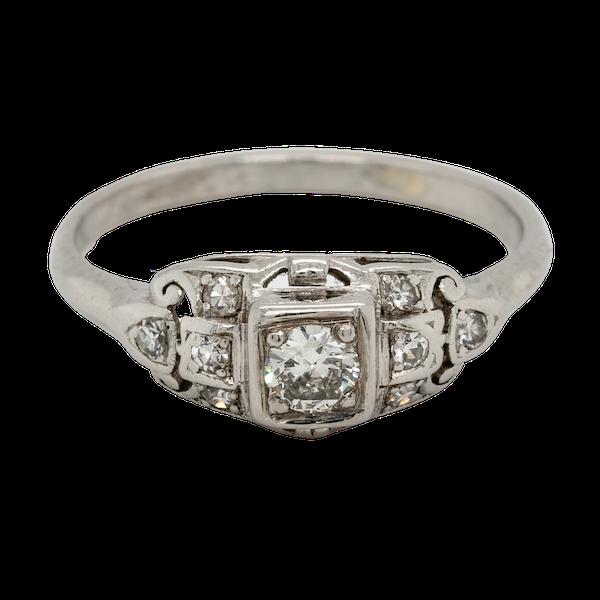 Cool Art Deco Diamond Engagement Ring  DBGEMS - image 1