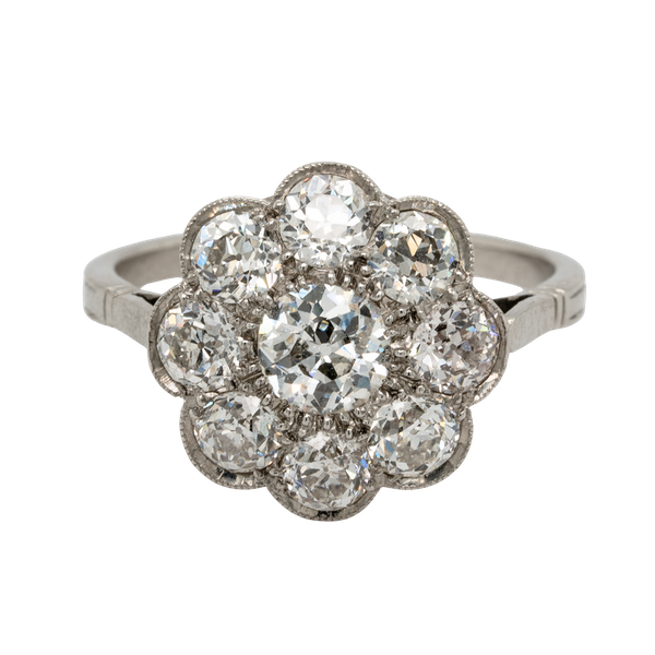 Art Deco French Diamond Cluster Ring  DBGEMS - image 1