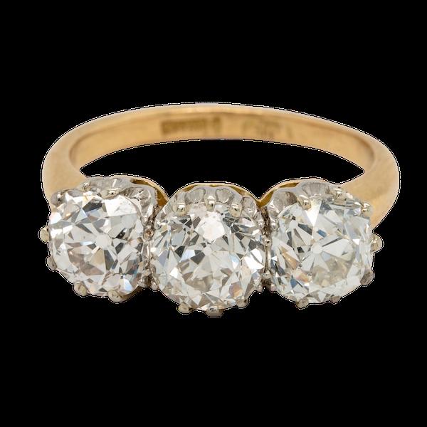 Antique diamond trilogy engagement ring - image 1