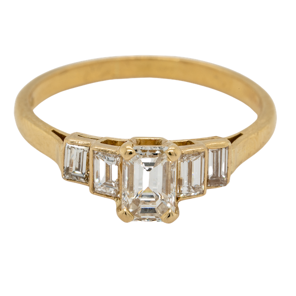Geometric Emerald Cut Diamond Ring - image 1
