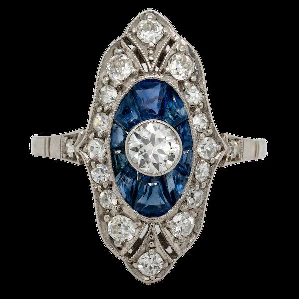art deco sapphire and diamond target engagement ring  DBGEMS - image 1