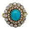 Antique Turquoise and diamond cluster ring  DBGEMS - image 1