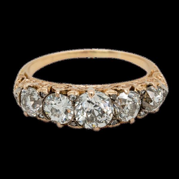 Antique five stone diamond carved half hoop  DBGEMS engagement ring - image 1