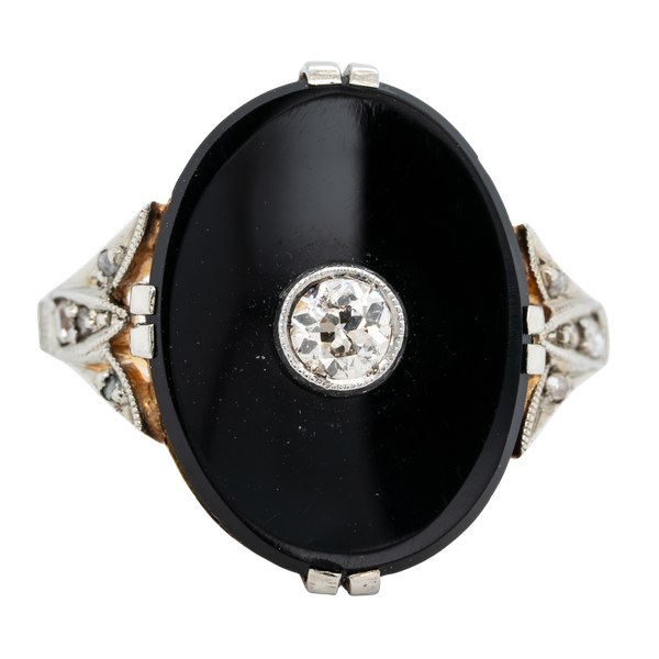 Art Deco Onyx and Diamond Ring - image 1
