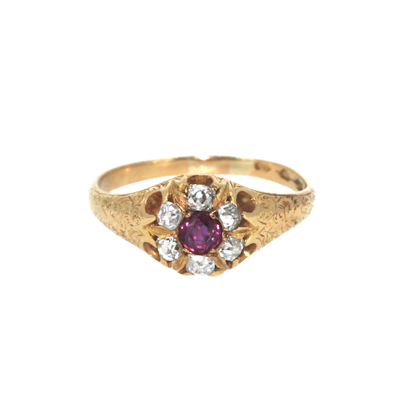 Victorian Ruby And Diamond Cluster Ring. S.Greenstein - image 1