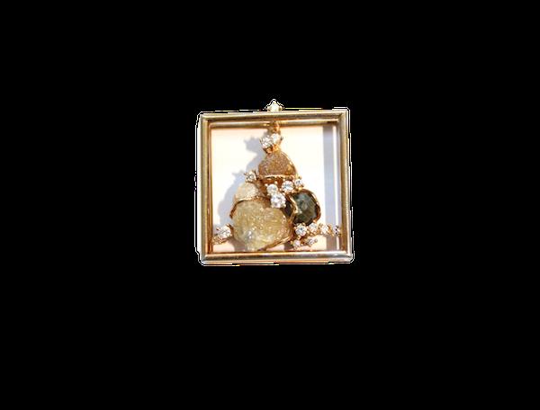 Diamond and diamond crystal pendant - image 1