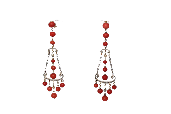Coral, natural pearl diamond 1920s earrings - image 1