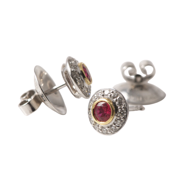 1970's, 18ct White/Yellow Gold Ruby & Diamond stone set Earrings, SHAPIRO & Co - image 1