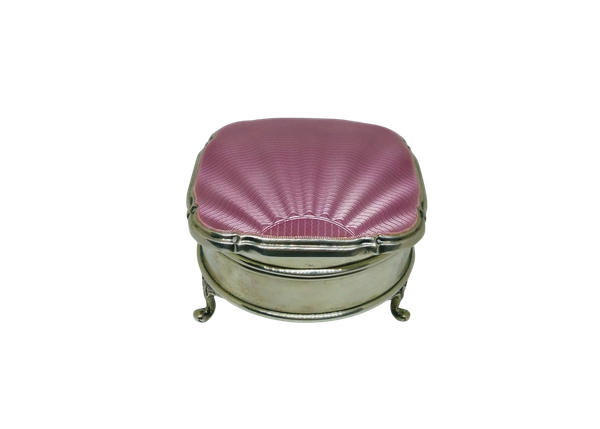 A pink antique silver and guilloche enamel jewellery box - image 1