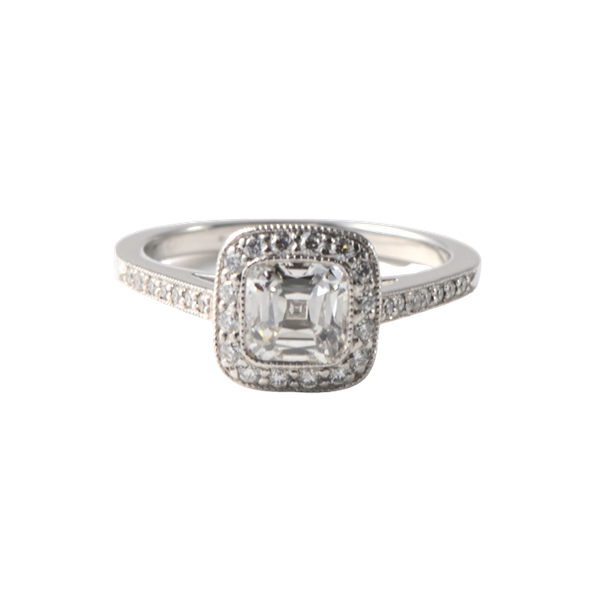 1980's, Cushion shape Diamond Platinum stone set Ring by Tiffany & Co,,,,,,,,,,,,,,, SHAPIRO & Co since1979 - image 9