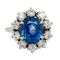 A Sapphire and Diamond Cluster Ring Offered by The Gilded Lily - image 1