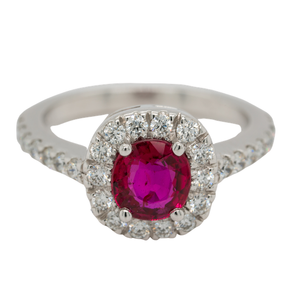 Ruby and diamond cluster ring - image 1