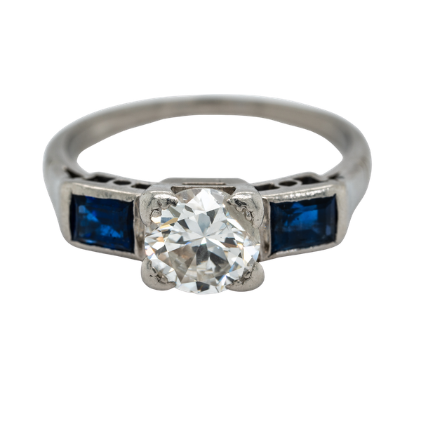 Art Deco 3 stone diamond and sapphire  ring - image 1