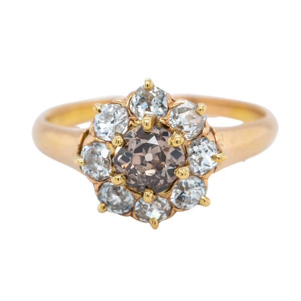 Diamond and fancy coloured diamond cluster ring - image 1