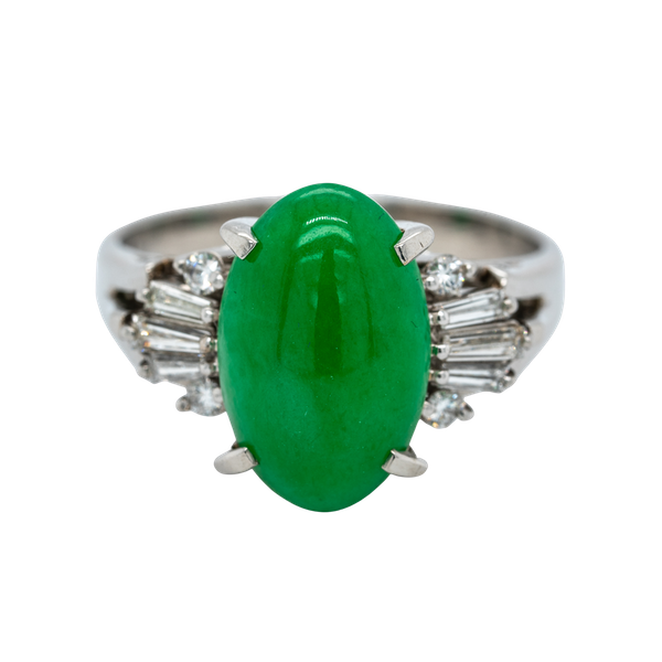 Jade and diamond baguettes ring with certificate - image 1