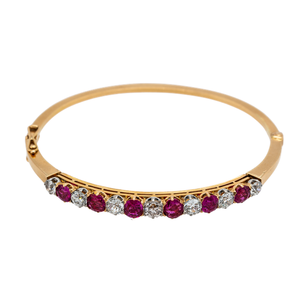 Victorian Burma ruby and diamond bangle. Certificated - image 1