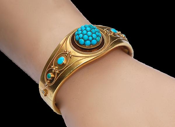 Domed turquoise bangle - image 1