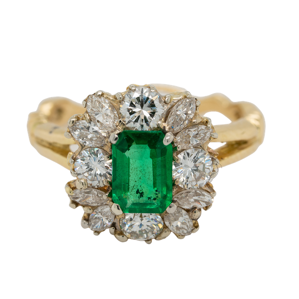 Emerald and diamond rectangular cluster  ring - image 1