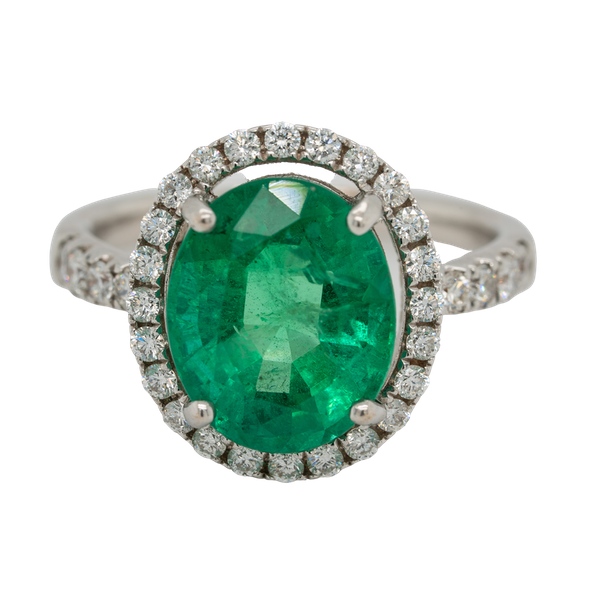Emerald and diamond cluster ring, emerald 5.0 ct est. - image 1