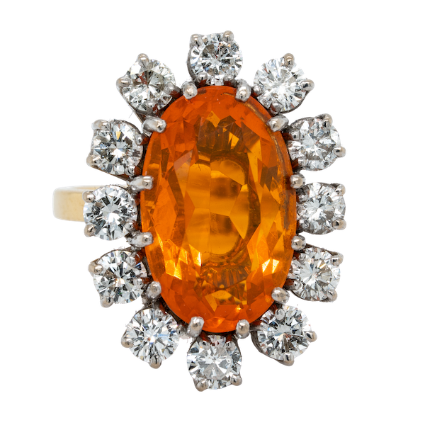 Fire opal and diamond oval cluster ring - image 1