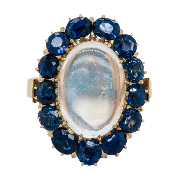 Moonstone and sapphire cluster ring - image 1