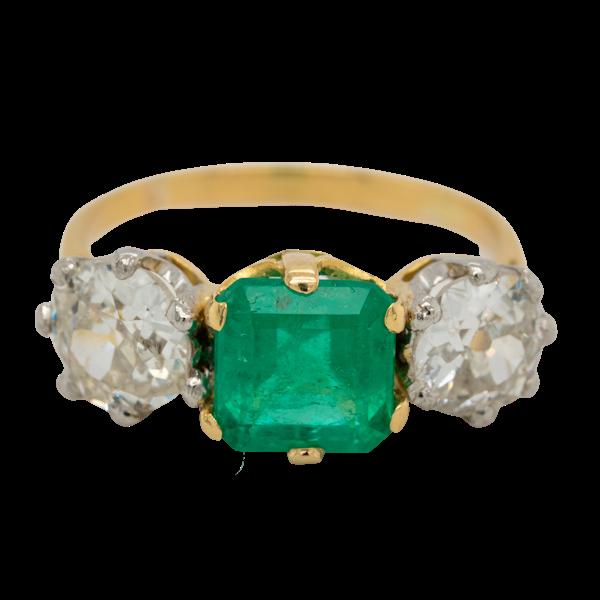 Emerald and diamond 3 stone ring - image 1