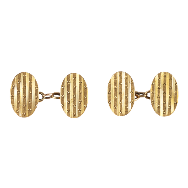 Antique 18 Carat Gold Classic Oval Cufflinks, English dated 1919. - image 1