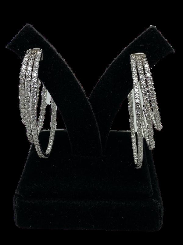 18K white gold 3.53ct Diamond Hoop Earrings - image 5