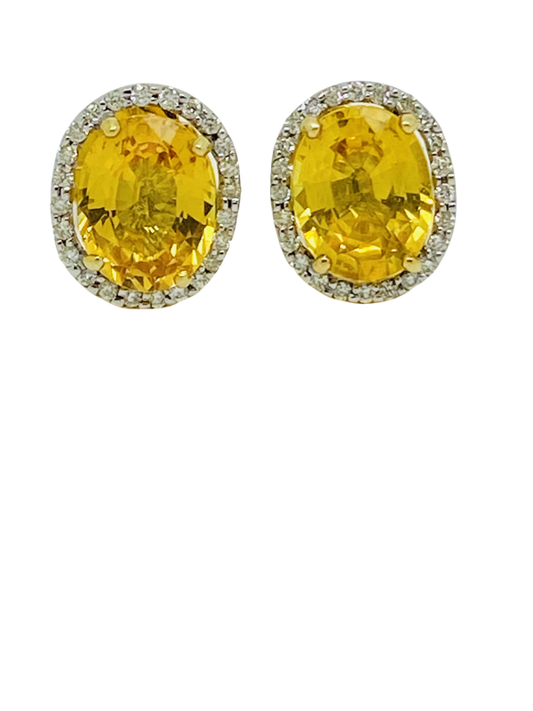 18K yellow gold, 7.16ct Natural Yellow Sapphire and 0.36ct Diamond Earrings - image 1