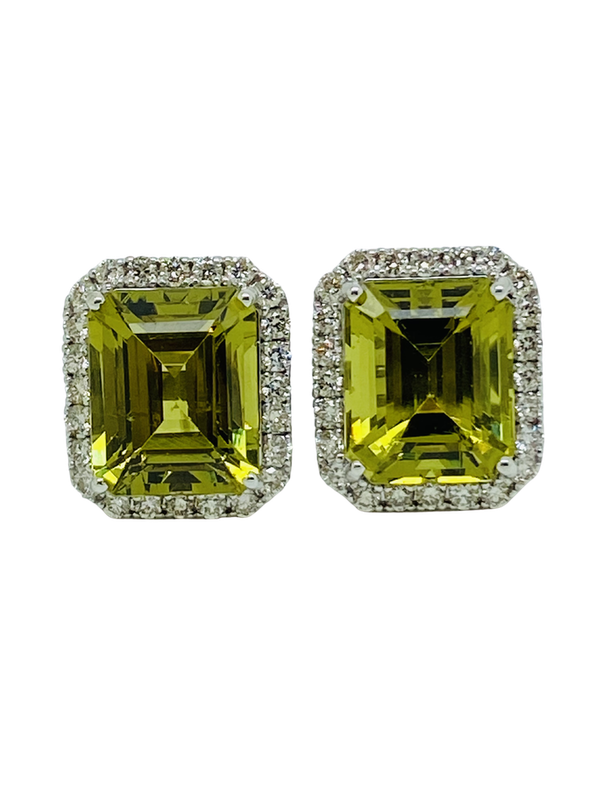 18K White gold 14.00ct Natural Green Tourmaline and 0.40ct Diamond Earrings - image 1